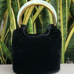 Vtg 50s 60s Ingber Velvet Clutch Purse Bag Acrylic